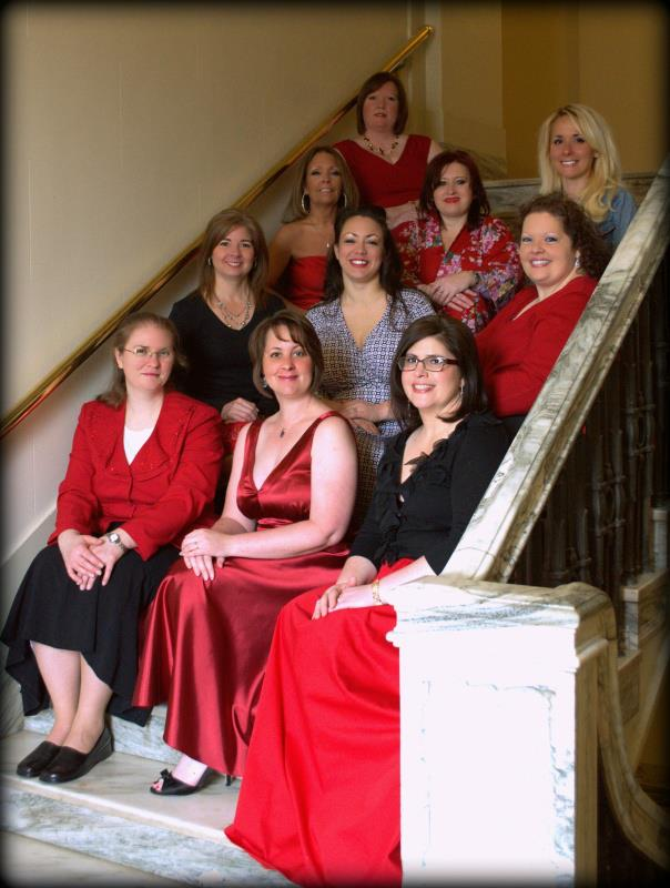 book club red dress stairs