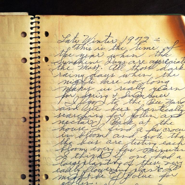 Page one of Papa Joe's apiary journal, dated 1972.