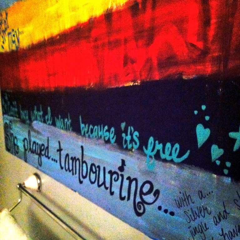 A colorful canvas in our guest bath is slowly being filled with beloved song lyrics. I had painted these Eddie Vedder words on it months ago, before ever hearing about Notes to Boys.