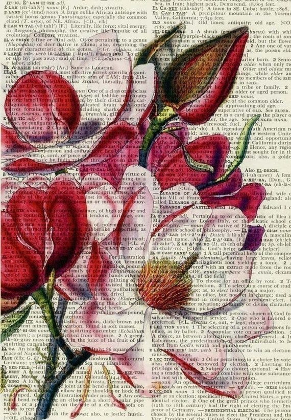 (via Pinterest) Here's my next craft project. Simply watercolors on dictionary pages. Pretty!