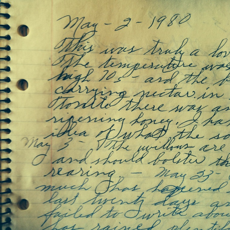 Excerpt from my great-grandfather's apiary journal, these pages dated May 1980. I was in Kindergarten, and Oklahoma was in full bloom just like we are now, 34 years later.
