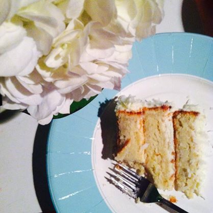 Hydrangeas and coconut-lime cake for our guest of honor. xoxo