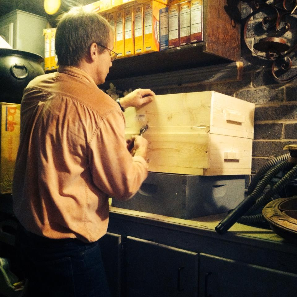 dad building bee boxes