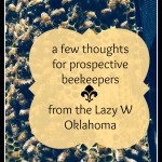 a few thoughts for prospective beekeepers