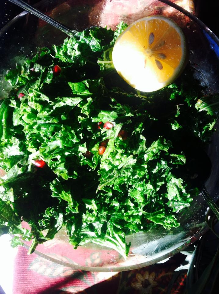 kale salad with pomegranate