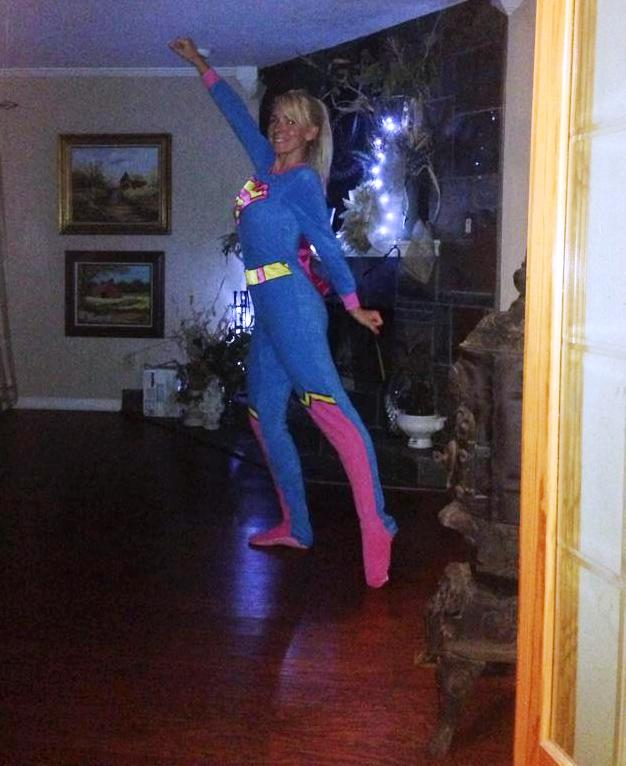 supergirl footie onesie pajamas