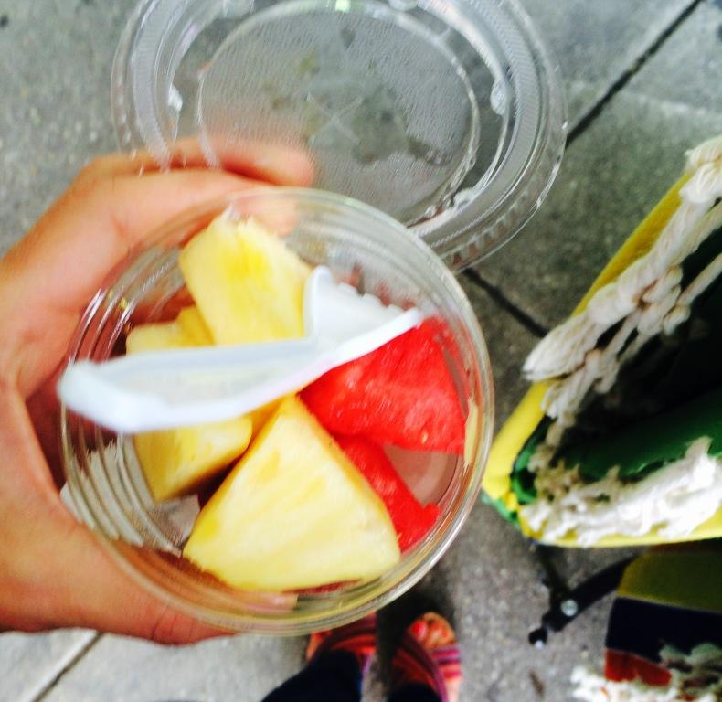 How fun that my first taste of pineapple and watermelon this year is happening in my favorite place.