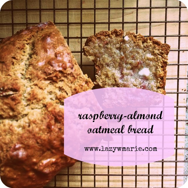 raspberry almond oat bread recipe label