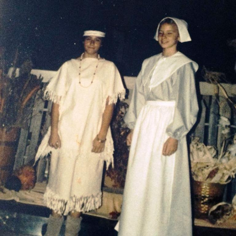 My friend Carmel was the Indian to my Pilgrim way back in 6th grade, for a church pageant. I still wear this apron. xoxo