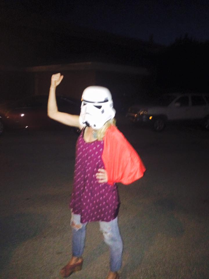 That red thing is my Super Girl cape blowing in the Oklahoma wind, in case you don't know. So I'm a wedge-wearing, Super Girl-Storm Trooper, and it's awesome.