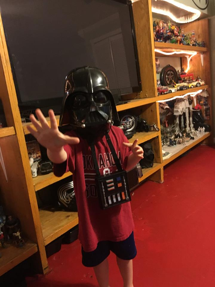 Five-going-on-thirteen-year-old nephew Greg is seriously considering the Dark Side.