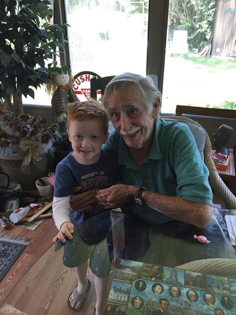 With his great-grandson Greg.